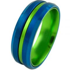 COI Tungsten Carbide Blue Green Center Groove Ring-TG4210