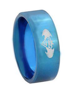 COI Blue Tungsten Carbide Superman Batman Ring-TG4227