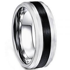 COI Titanium Black Silver Center Line Ring-4242