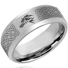 COI Tungsten Carbide Wolf Celtic Beveled Edges Ring-TG4261