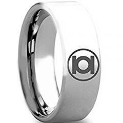 COI Tungsten Carbide Green Lantern Pipe Cut Flat Ring-TG4272