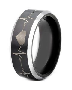 COI Tungsten Carbide HeartBeat & Heart Beveled Edges Ring-TG4300