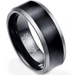 COI Tungsten Carbide Black Silver Beveled Edges Ring-TG4308