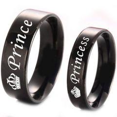 COI Black Tungsten Carbide Prince Princess Crown Ring-TG4331