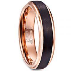 COI Tungsten Carbide Black Rose Step Edges Ring-TG4341