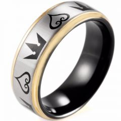 COI Tungsten Carbide Black Rose Kingdom & Heart Ring-TG4352
