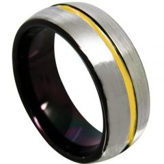 COI Tungsten Carbide Black Gold Center Groove Ring-TG4366