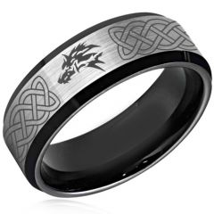 COI Titanium Black Silver Wolf Celtic Beveled Edges Ring-4379
