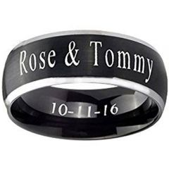 COI Tungsten Carbide Ring With Custom Engraving-TG4386
