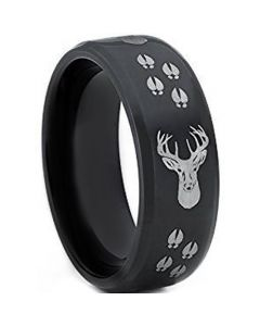 COI Black Tungsten Carbide Deer Track & Head Ring-TG4393