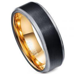 COI Tungsten Carbide Black Gold Tone Beveled Edges Ring-TG4394