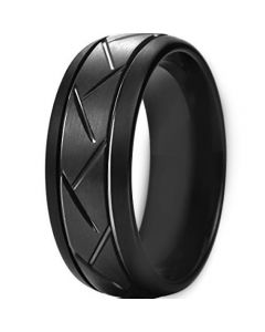 COI Black Tungsten Carbide Tire Tread Double Grooves Ring-TG4404