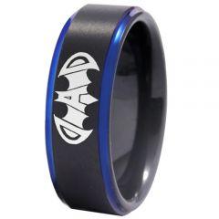 COI Tungsten Carbide Black Blue Super Dad Bat Ring-TG4409