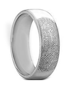 COI Tungsten Carbide Custom FingerPrint Dome Court Ring-TG5156
