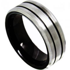 COI Titanium Black Silver Double Grooves Ring-4120