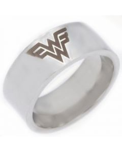 COI Tungsten Carbide Wonder Woman Pipe Cut Flat Ring-TG4430