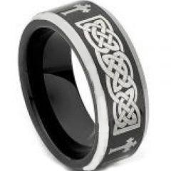COI Tungsten Carbide Black Silver Cross Celtic Ring-TG4464