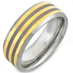 COI Tungsten Carbide Gold Tone Silver Double Lines Ring-TG4471