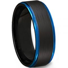 COI Tungsten Carbide Black Blue Beveled Edges Ring - TG4499