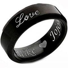 COI Black Tungsten Carbide Love Beveled Edges Ring-TG4529