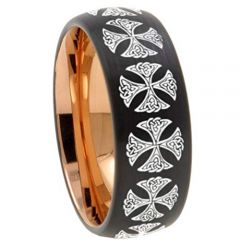 COI Tungsten Carbide Black Rose Cross Dome Court Ring-TG4541