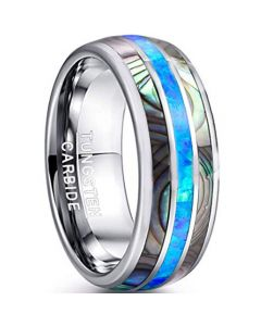 COI Tungsten Carbide Abalone Shell & Crushed Opal Dome Ring-TG4549