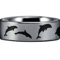 COI Tungsten Carbide Dolphin Pipe Cut Flat Ring-TG4554