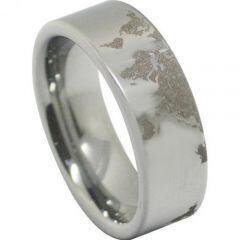 COI Tungsten Carbide Map Pipe Cut Flat Ring-TG4556