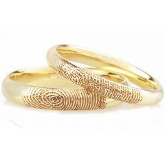 COI Gold Tungsten Carbide Ring With Custom Fingerprint-TG4559