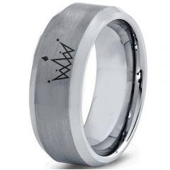 COI Titanium King Crown Beveled Edges Ring-4560