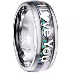 COI Tungsten Carbide Abalone Shell Love Dome Court Ring-TG4578