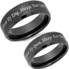 COI Black Tungsten Carbide King Queen Beveled Edges Ring-TG4580