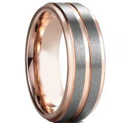 COI Tungsten Carbide Rose Silver Center Groove Ring-TG4597