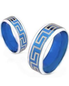 COI Tungsten Carbide Blue Silver Greek Key Ring-TG4648