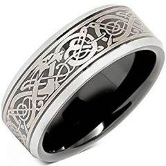 COI Tungsten Carbide Black Silver Dragon Ring-TG4657