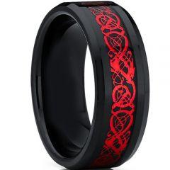 COI Titanium Black Red Dragon Beveled Edges Ring-4659