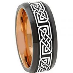 COI Titanium Black Rose Celtic Beveled Edges Ring-4672
