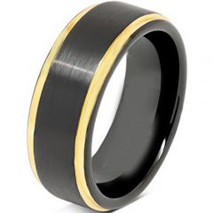 COI Tungsten Carbide Black Gold Tone Step Edges Ring-TG4684
