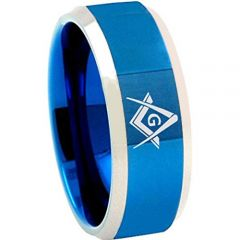 COI Tungsten Carbide Masonic Beveled Edges Ring-TG4685