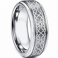 COI Tungsten Carbide Celtic Step Edges Ring-TG4718