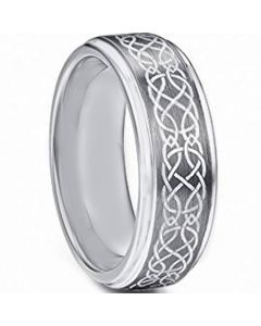 COI Tungsten Carbide Celtic Step Edges Ring-TG4718