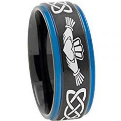 COI Tungsten Carbide Black Blue Mo Anam Cara Ring - TG4722