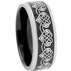 COI Titanium Black Silver Hearts Beveled Edges Ring-4751