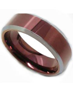 COI Tungsten Carbide Purple Red Beveled Edges Ring-TG5183