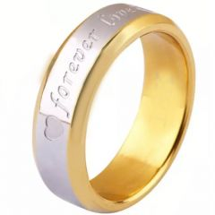 COI Tungsten Carbide Gold Tone Silver Forever Love Heart Beveled Edges Ring-TG5253