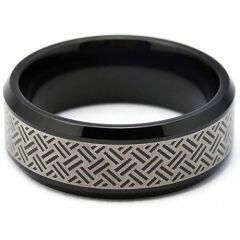 COI Black Tungsten Carbide Laser Pattern Beveled Edges Ring-TG5260