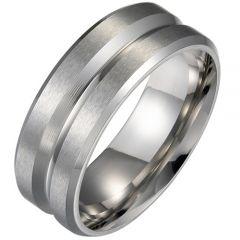 COI Titanium Center Groove Beveled Edges Ring-5289