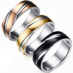 COI Titanium Rose/Gold Tone/Black Silver Ring-5295