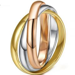 COI Titanium Gold Tone Rose Silver Dome Court Ring-5297