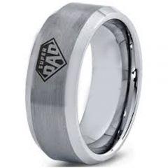COI Tungsten Carbide Super Dad Beveled Edges Ring-5325